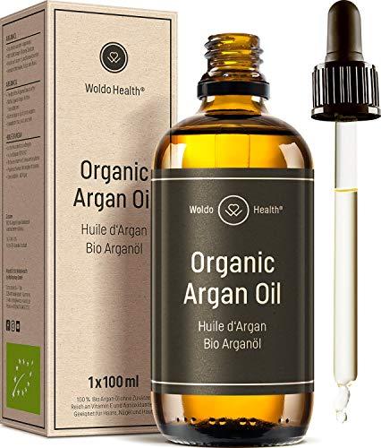 Bio Arganöl kaltgepresst für Gesicht, Haut & Haare 100ml - ohne Zusätze mit Pipette