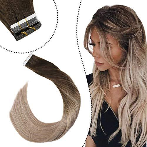 Ugeat Tape Extension Brasilianisches Haar Haarverlangerung Echthaar Balayage Tape Dunkelbraune und Aschblond #2/18 Klebestreifen Tape Extension Human Hair(60cm, 20Stücke/50Gramm)
