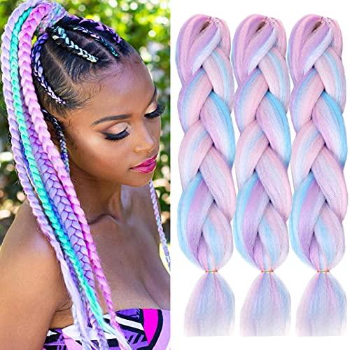 ColorfulPanda 3 Stück/Packung 61 cm Synthetische Ombre Jumbo Braiding Hair Extension Heat Resistant Synthetic African Box Braids Crochet Twist geflochtenes Haar (Regenbogenfarbe)