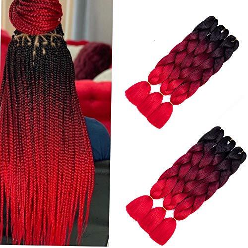 6 Packs Shang xiu Jumbo Flechten Hair Extensions Colorful Kunsthaar Heat Resistant Haar für Heimwerker Crochet Box Zöpfe Ombre Brown 3 Tone Color Ombré-braun 100 g/pcs 61 cm (ombre red)