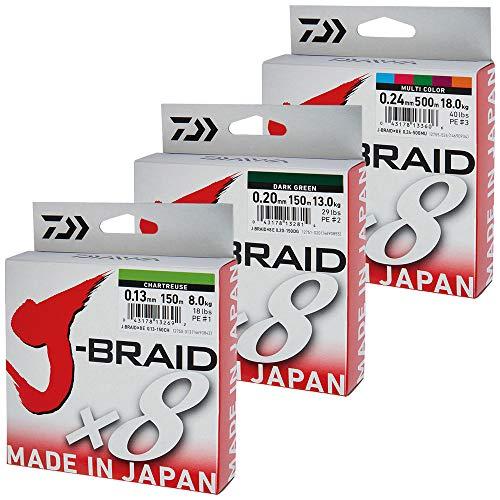 Daiwa J-Braid 8 Braid 0.10mm, 6,0kg/13,0lbs, 150m chartreuse