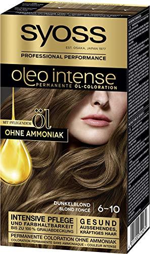 SYOSS Oleo Intense Permanente Öl-Coloration 6-10 Dunkelblond, mit pflegendem Öl & ohne Ammoniak, 3er Pack (3 x 115 ml)