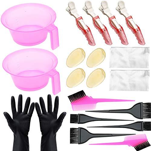 20-teiliges Haarfärbe-Set, DIY-Haarfärbe-Werkzeuge für Haarfarbe, DIY-Salon, Haarfärbe-Schale, Färbepinsel, Ohrenschutz, Handschuhe, Friseur-Clips