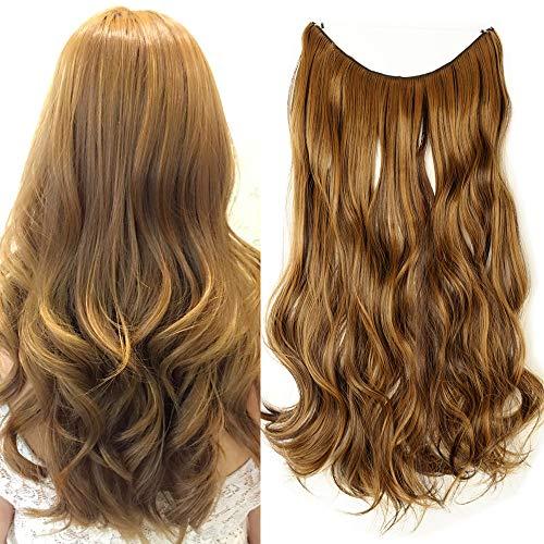 TESS Haarteil Extensions 1 Tresse Ombre Haarverlängerung Synthetische Haare Haarverdichtung 20'(50cm)-90g Gewellt Mittelbraun/Braun