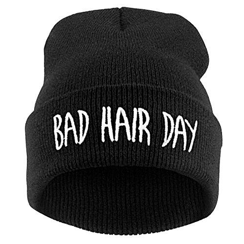 """AONER Beanie Mütze """"Bad Hair Day"""" Strickmütze Wintermütze mit Einstickung Hip-Hop Mütze Bestickt Mütze, Schwarze Mütze mit Weiß Worte, Einheitsgröße"""