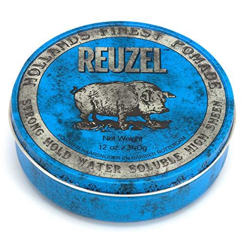 Reuzel - Blue Strong Hold Water Soluble Pomade - Natürliche Öle - Beruhigende Vanille - Hoher Glanz - Superkonzentrierte Formel - Behält die Geschmeidigkeit ohne zu verhärten oder abzublättern - 12 oz/340 g