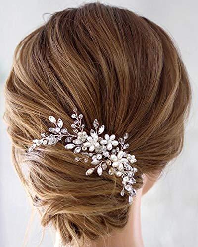 Simsly Blumenhaarschmuck, Hochzeits-Haarkamm, silberfarben, Haaraccessoire, mit Perlen, Brautschmuck, für Damen und Mädchen