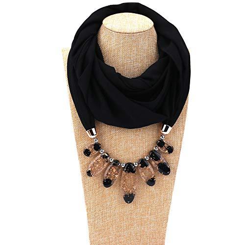 WTZWY Frauen Chiffon Schal Anhänger Halskette, Damenmode Statement Harz Perlen Halskette Schals Wrap Party Schmuck Schal Geschenk,Schwarz