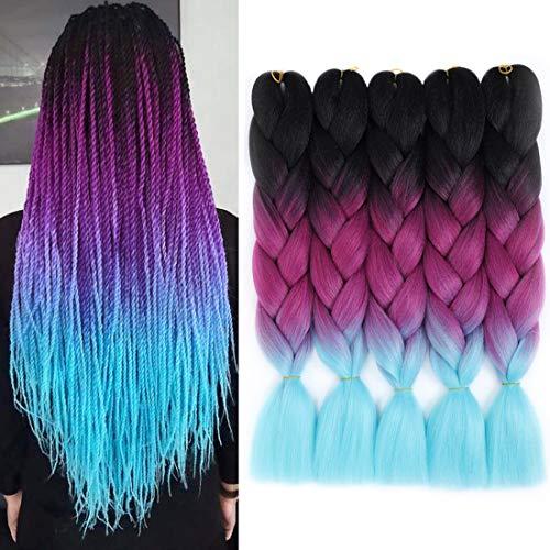 WIGENIUS Ombre Jumbo Flechthaar 5 Stück Jumbo Braid Crochet Box Braids Haarverlängerung Dreifarbiges Ombre Color Synthetisches Haar zum Flechten Twist 24 Zoll 100G(Schwarz/Lila/Seeblau)