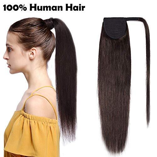 Ponytail Extension Clip in Echthaar Pferdeschwanz Haarteil Haarverlängerung Zopf Hair Piece Dunkelbraun#2 20'(50cm)-95g