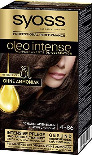 SYOSS Oleo Intense Permanente Öl-Coloration 4-86 Schokoladenbraun, mit pflegendem Öl & ohne Ammoniak, 3er Pack (3 x 115 ml)