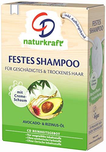 CD Festes Shampoo Avocado- und Rizinus-Öl für geschädigtes & trockenes Haar, 75 g, nachhaltige Haarseife, pflegendes Haarshampoo ohne Mikroplastik, vegan, Grün