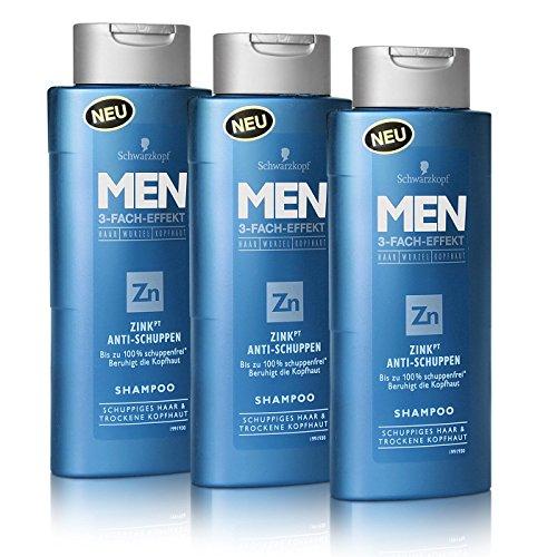 3x Schwarzkopf MEN Zink Anti-Schuppen Shampoo 250ml