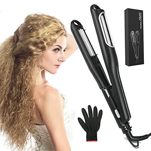 Zoomarlous Kreppeisen breite Stylingplatten mit Rillen,420°F, Kreppeisen für Haare,professionelle Corrugated Crimper Mais Platte Mais Dauerwelle Schiene Haar Styling Werkzeug