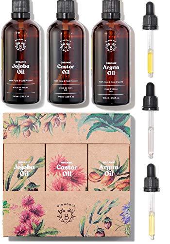 BIO RIZINUSÖL, ARGANÖL & JOJOBAÖL | Pflege-set Pflanzliche Öle Bio | 100% Rein, Natürlich & Kaltgepresst | Gesicht, Körper, Haare, Nägel | Glasflaschen + Pipetten + Pumpen (3 x 100ml)
