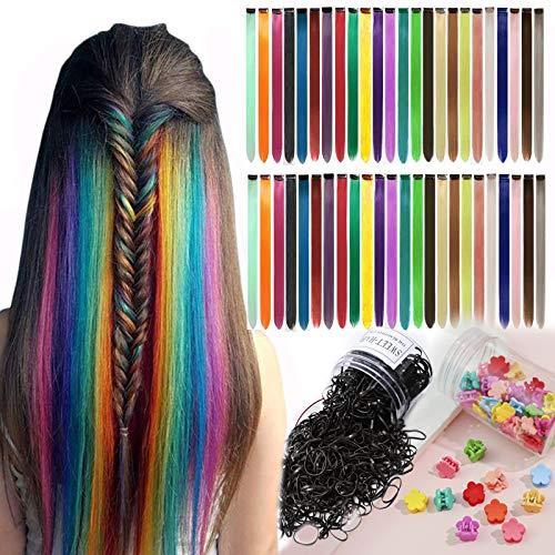 Farbige Haarverlängerung Clips 24 Farben Bunte Haarsträhnen Glatte Regenbogen Gerade(DIY) Weihnachten Für Mädchen Kinder Synthetisch Haarteil 48 Stück