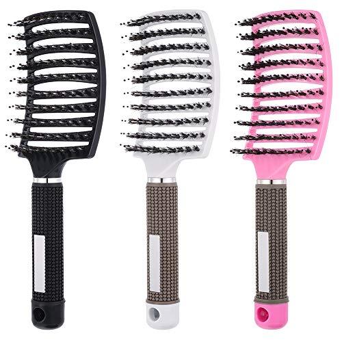 3 Stücke Entlüftete Entwirrende Haarbürste Wildschweinborsten Gebogene Haarbürste Detangling Haarstyling Bürste für Styling Hair Brush Set
