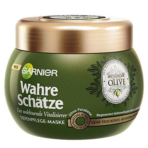 GARNIER Wahre Schätze Haar-Maske / Haarkur für intensive Haarpflege / Wirkt Vitalisierend (mit Vitamin E, aus nativem Olivenöl - für sehr trockenes, beanspruchtes Haar) 1 x 300ml