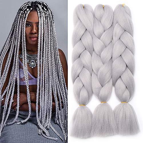 24' Braids Extensions Flechten Hair Extensions Crochet Haar Kunsthaar Kanekalon Colorful 3 PCS Silber-Grau