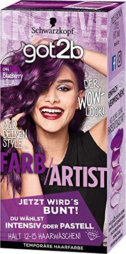 Schwarzkopf got2b Farb/Artist Haartönung Temporäre, Haarfarbe 094 Blueberry Lila, 3er Pack (3 x 80ml)