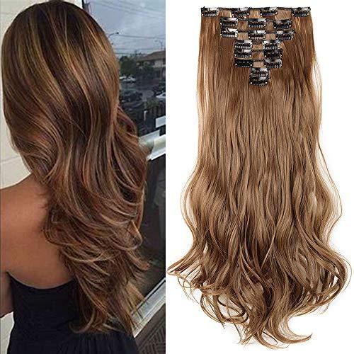 TESS Clip in Extensions wie Echthaar Haarteile günstig Haarverlängerung 8 Tressen 18 Clips Haarteil Gewellt 17'(43cm)-140g Hellbraun