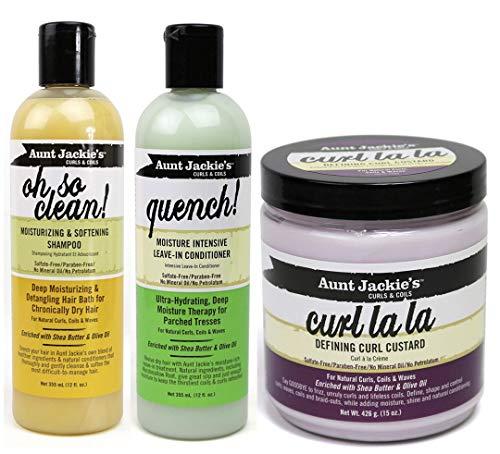 """Aunt Jackie's Curls & Coils   3er-Set   Shampoo """"Oh So Clean"""", 355ml   Definierende Lockencreme """"Curl La La"""", 426 g   Leave-In-Spülung """"Quench"""" für intensive Feuchtigkeit, 355 ml"""