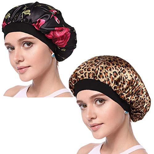 Simoda Satin Floral Night Cap für lockiges Haar Elastisches Band Schlafmütze Haarpflege Satin Haube (#11)