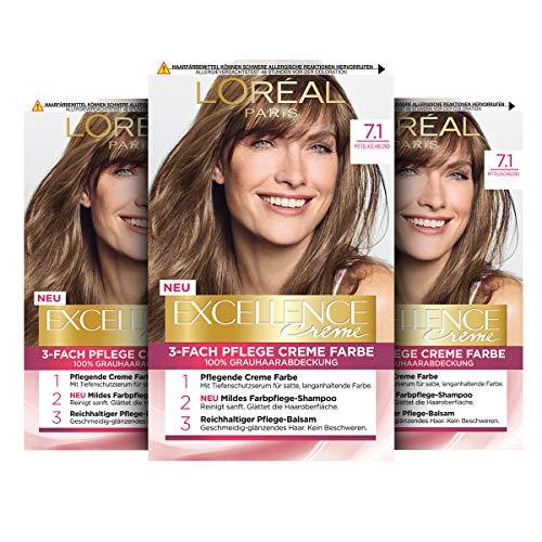 L'Oréal Paris Excellence Creme Permanente Haarfarbe, 100% Grauhaarabdeckung, Haarfärbeset mit Coloration, Shampoo und 3-fach Pflegecreme, 7.1 Mittelaschblond, 3 x 268 g
