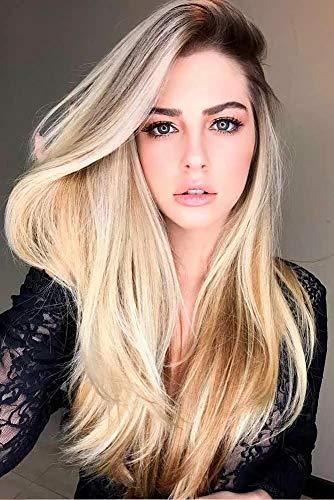 Dark Roots Lange Ombre Blonde glatte Haare – ChuYao Lange Ombre Perücken für Frauen, natürliche Haarfarbe hitzebeständige Faser Haar Ersatz Perücke