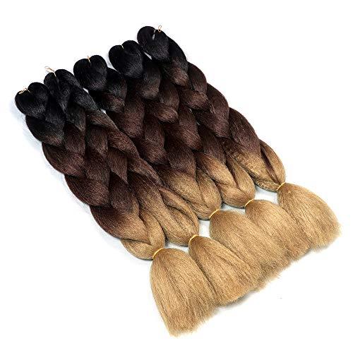 YMHPRIDE Geflochtene Haare Fashion 3Tone Ombre geflochtene Haare 24 Zoll Geflochtene Haare 5 Stück