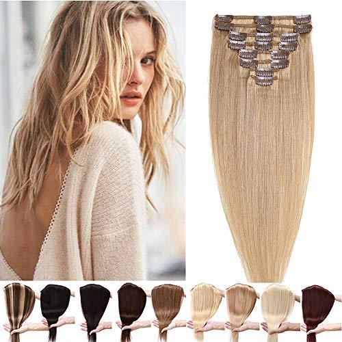 Clip in Extensions Echthaar Haarteile Echthaar 8 Tressen 18 Clips Weich Natürlich Haarverlängerung Glatt Hair Extensions 7A Remy Haare 55cm-85g 27# Dunkelblond