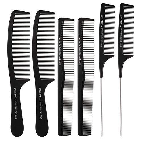 FANTESI 6-teiliges schwarzes Haarkamm-Set, Karbonfaser, Haarschneidekamm, antistatisch, feiner Kamm, Nadelschwanzkamm, Haarstylingkamm für Friseursalon