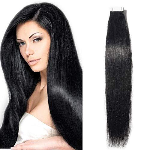 SEGO Tape Extensions Echthaar Haarverlängerung Klebeband Haarteile Glatt 100% remy Haar 20 Stücke Verlängerung +10pcs free tapes Schwarz#1 24'(61cm)-50g