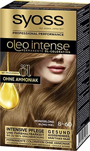 Syoss Oleo Intense Permanente Öl-Coloration 8-60 Honigblond, mit pflegendem Öl & ohne Ammoniak, 3er Pack(3 x 115 ml)