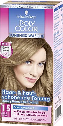 SCHWARZKOPF POLY COLOR Toenungs-Waesche, Haarfarbe 15 Mittelblond Stufe 2, 3er Pack (3 x 105 ml)