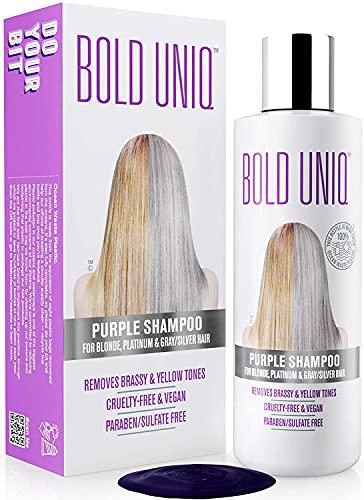 Silber Shampoo - Anti-Gelbstich Purple Shampoo für blonde, blondierte, gesträhnte und graue Haar - No Yellow von für Silber- Aschblond-Tönung - ohne Sulfat & Paraben - Bold Uniq