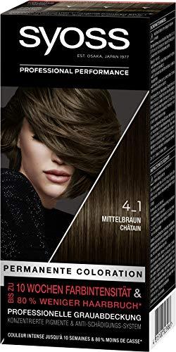 SYOSS Coloration, Haarfarbe Stufe 3 4_1 Mittelbraun, bis zu 10 Wochen Farbintensität, 3er Pack (3 x 115 ml)