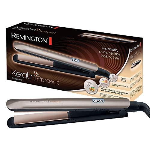 Remington Glätteisen Keratin (hochwertige Keratin-Keramikbeschichtung mit Mandelöl angereichert) LCD-Display, 10 Temperatureinstellungen 150-230°C, Haarglätter S8540
