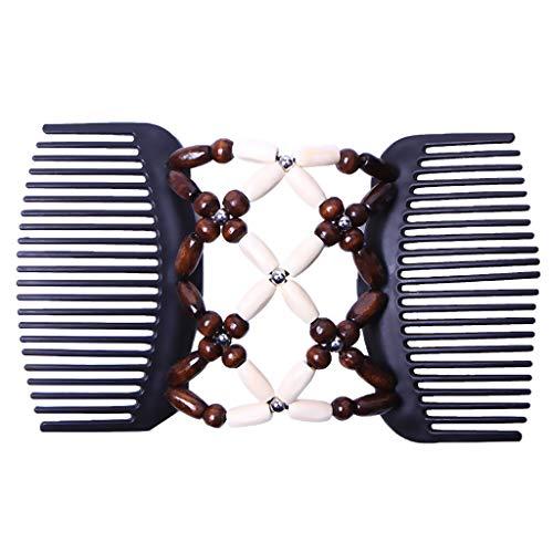 Baoblaze Elastische und doppelte Haarspange Haarkamm Schmuck Haarklammer Haarspange Holzperlen Clip Hochsteckfrisur DIY Hair Styling Werkzeug - Beige