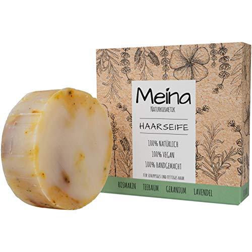 Meina - Haarseife Naturkosmetik für fettiges Haar - Bio Shampoo Bar gegen Schuppen mit Rosmarin, Teebaum und Lavendel (1 x 80 g) palmölfrei, vegan festes Shampoo, Shampooseife