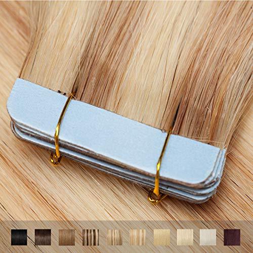 TESS Tape Extensions Echthaar Ombre Hellgoldblond/Blond #18/613 Klebeband Haarteile Tape in Haarverlängerung Remy Human Hair Glatt 10 Stück 12'(30cm)-20g