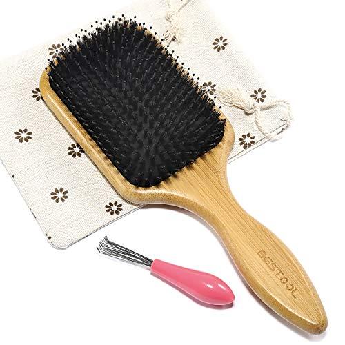 BESTOOL Haarbürste, Wildschweinborsten Bürste mit Nylonstiften, Professionelle Bambus Paddel Bürste zur Haarentwirrung und Detangling, Verbesserung der Haartextur (Platz)