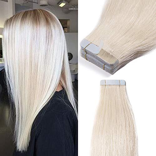 TESS Tape Extensions Echthaar Klebeband günstig Haarverlängerung 16 Inch 20pcs Glatt Remy Tape in Haar Extensions Platinblond (#70 40cm-50g)