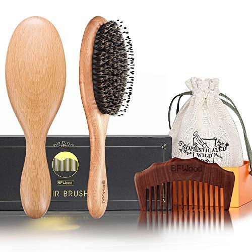 BFWood Haarbürste aus Wildschweinborsten und Kamm für normales bis mittelanges Haar,MEHRWEG