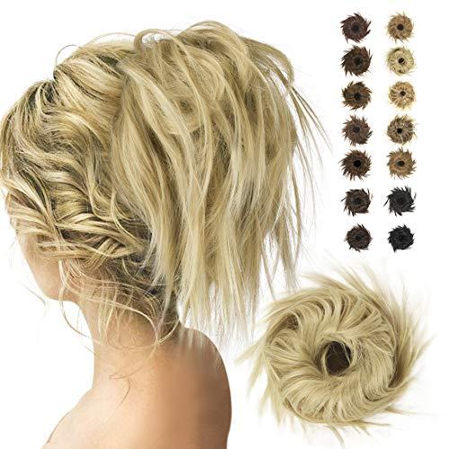 BARSDAR Haarteil Haargummi Hochsteckfrisuren,Haarteil Dutt Scrunchy Gewellt Unordentlicher Haarverlängerung Haarknoten Pferdeschwanz für Frauen