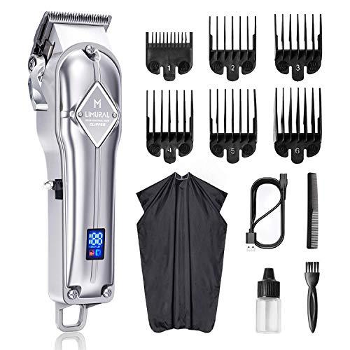 Limural Haarschneider für Herren Schnurlose Profi Haarschneidemaschine Bartschneider Friseure Pflegeset Wiederaufladbar, LED-Anzeige, Silber