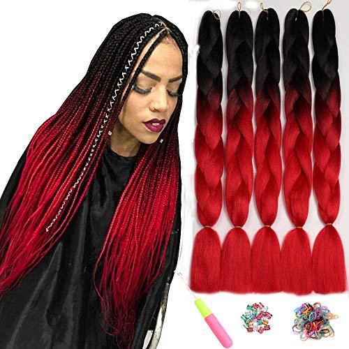 Showjarlly 5 Stücke Ombre Jumbo Braid Kunsthaar 24 Zoll 100g Kanekalon Haar Flechten Extensions Für Crochet Twist Flechten Haar (5PCS, B1-Schwarz/Rot)