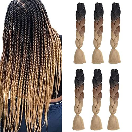 6Pack Jumbo Braids Hair Crochet Ombre Braiding Hair Dreifarbige Kanekalon Braids Synthetische Haarverlängerungen (24 Zoll, Schwarz / Braun / Hellbraun)