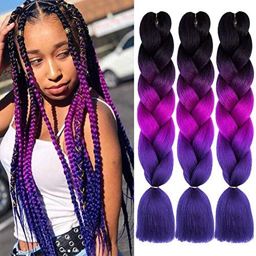 ColorfulPanda 3 Stücke Ombre Lila Jumbo Braid Kunsthaar 24 Zoll 100g Kanekalon Haar Flechten Extensions Für Crochet Twist Flechten Haar (Lila)