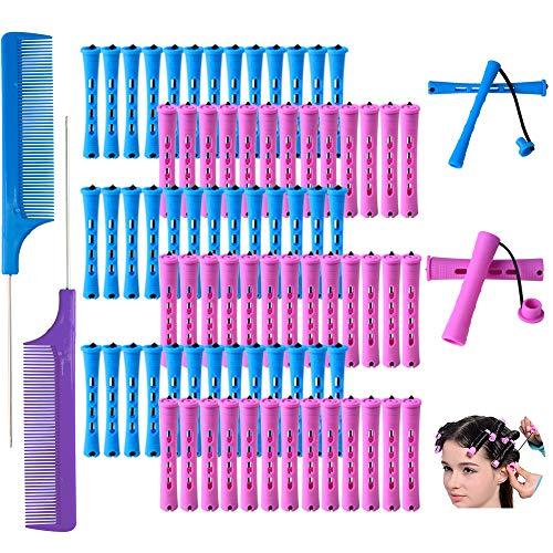 80 Stück Haar Dauerwelle Ruten Set 2 Größen Friseursalon Lockenwickler für natürliches Haar Kaltwellenruten Friseur Styling Werkzeuge (1,9 cm und 0,9 cm, Blau und Lila Rot)